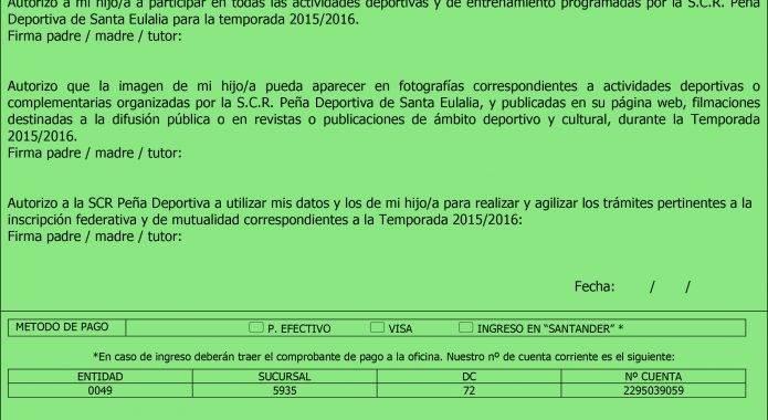 INSCRIPCIONES FUTBOL TEMPORADA 2015-2016