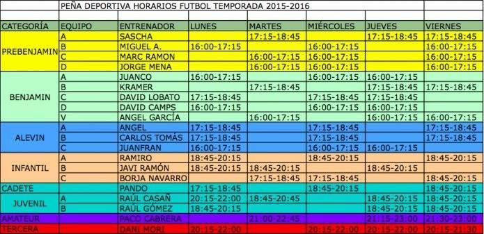 Horarios de Futbol Base 2015-2016