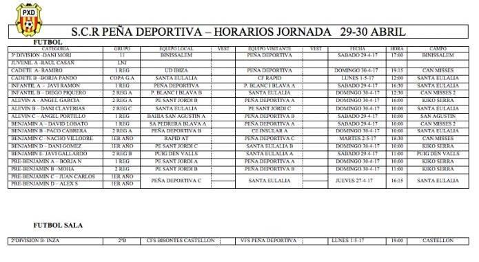 HORARIOS FIN DE SEMANA 29-30 DE ABRIL